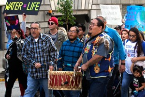 No DAPL rally and march in Los Angeles - drummers chant