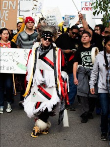 No DAPL rally and march in Los Angeles - male dancer