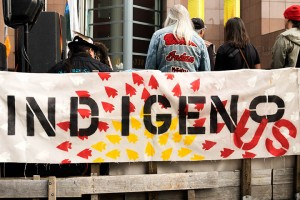 No DAPL rally and march in Los Angeles - indigenous banner