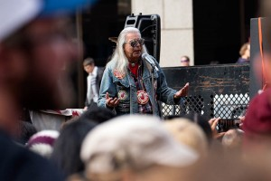 No DAPL rally and march in Los Angeles - native american speaker