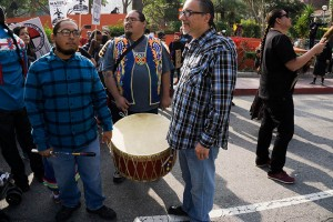 No DAPL rally and march in Los Angeles - drum