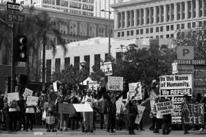 No DAPL rally and march in Los Angeles - shot from across the street
